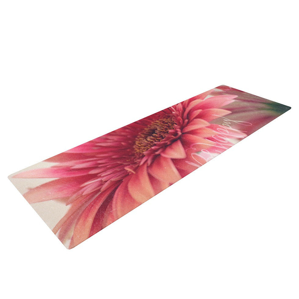 "Robin Dickinson ""Be Happy"" Pink Floral Yoga Mat - KESS InHouse  - 1"