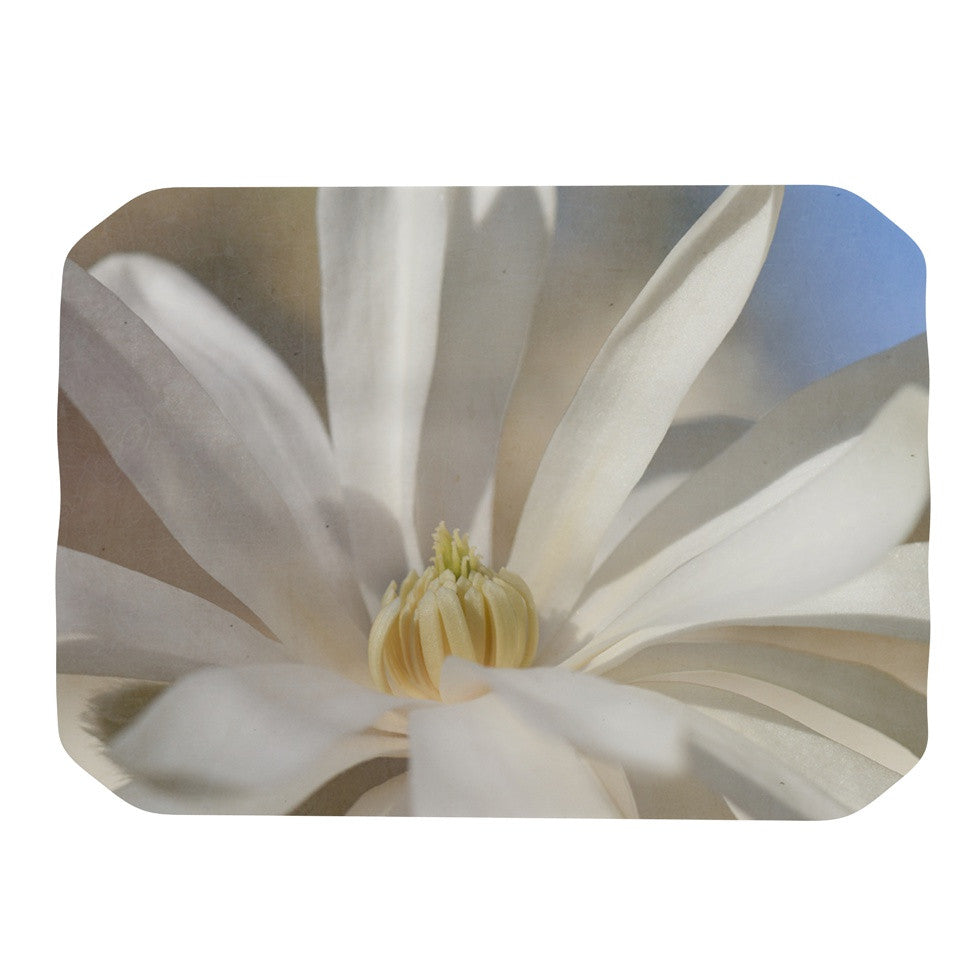 "Robin Dickinson ""First Signs"" White Floral Place Mat - KESS InHouse"