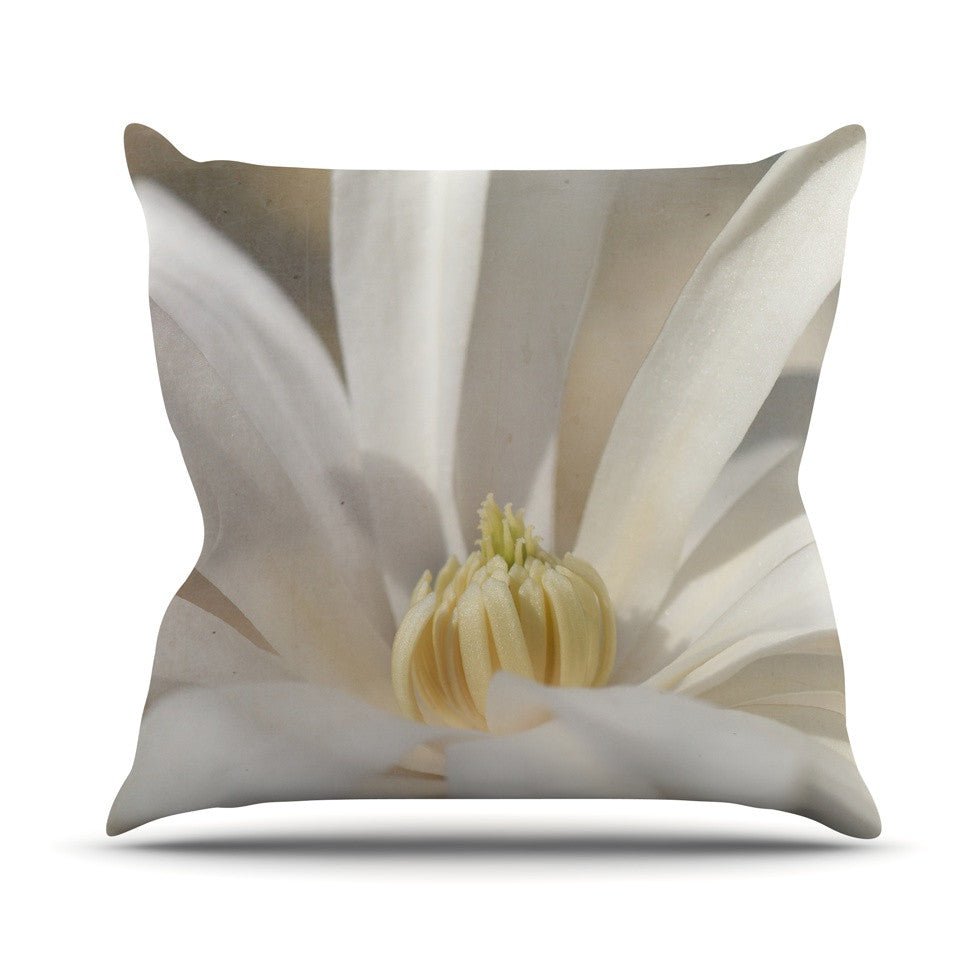 "Robin Dickinson ""First Signs"" White Floral Throw Pillow - KESS InHouse  - 1"
