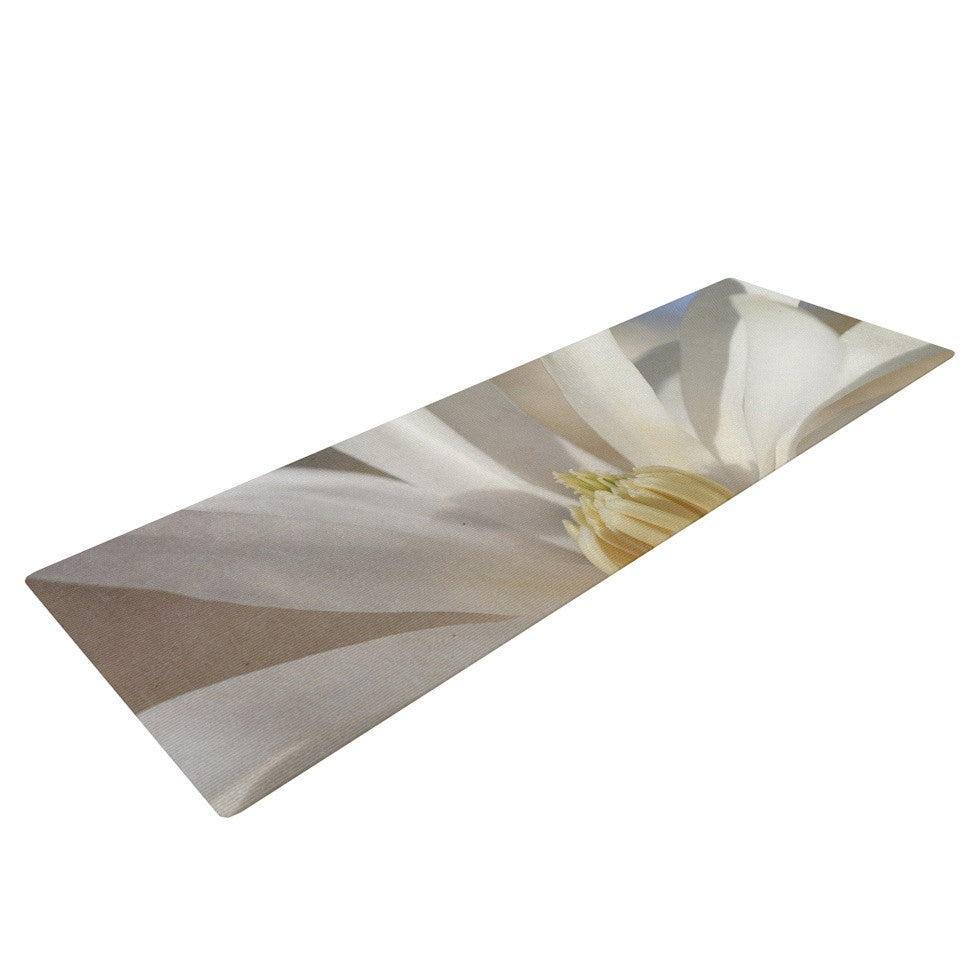 "Robin Dickinson ""First Signs"" White Floral Yoga Mat - KESS InHouse  - 1"