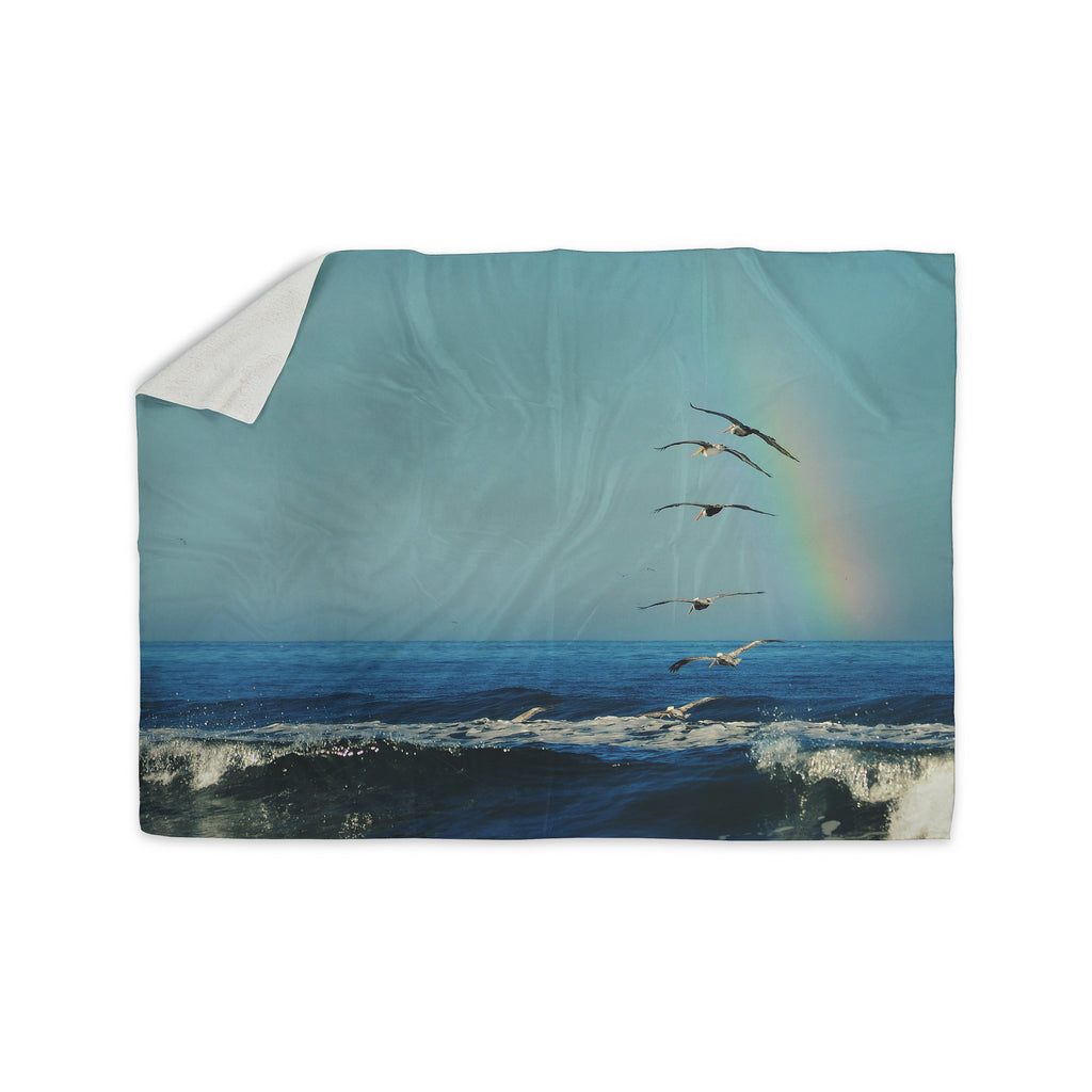 "Robin Dickinson ""I'll Follow"" Blue Coastal Sherpa Blanket - KESS InHouse  - 1"