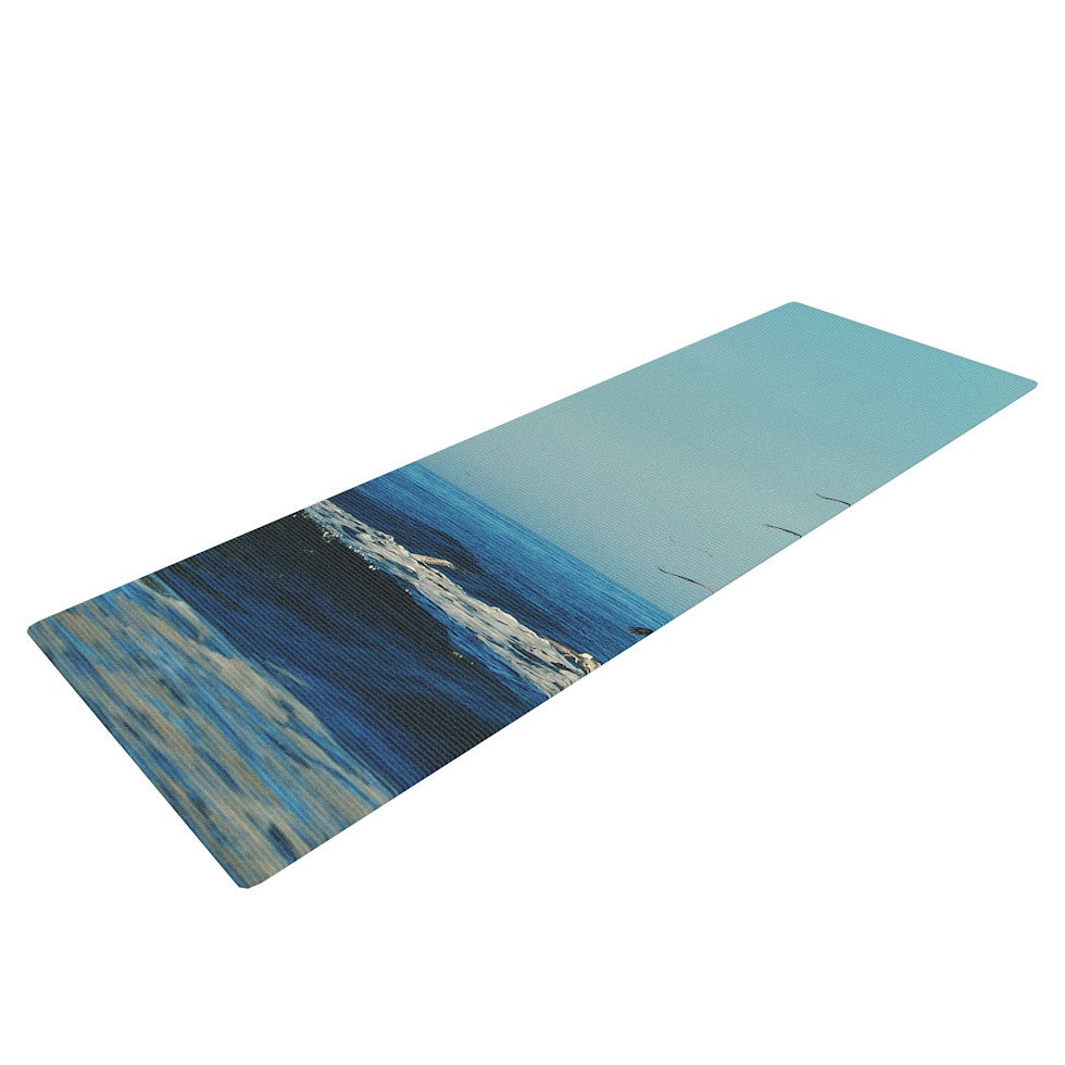 "Robin Dickinson ""I'll Follow"" Blue Coastal Yoga Mat - KESS InHouse  - 1"