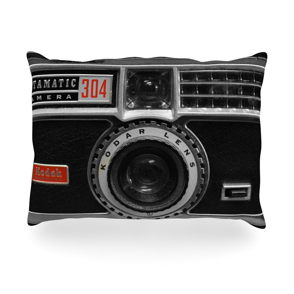 "Robin Dickinson ""Instamatic Red"" Black Gray Oblong Pillow - KESS InHouse"