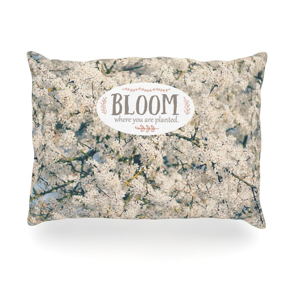 "Robin Dickinson ""Bloom Where You Are Planted"" White Floral Oblong Pillow - KESS InHouse"