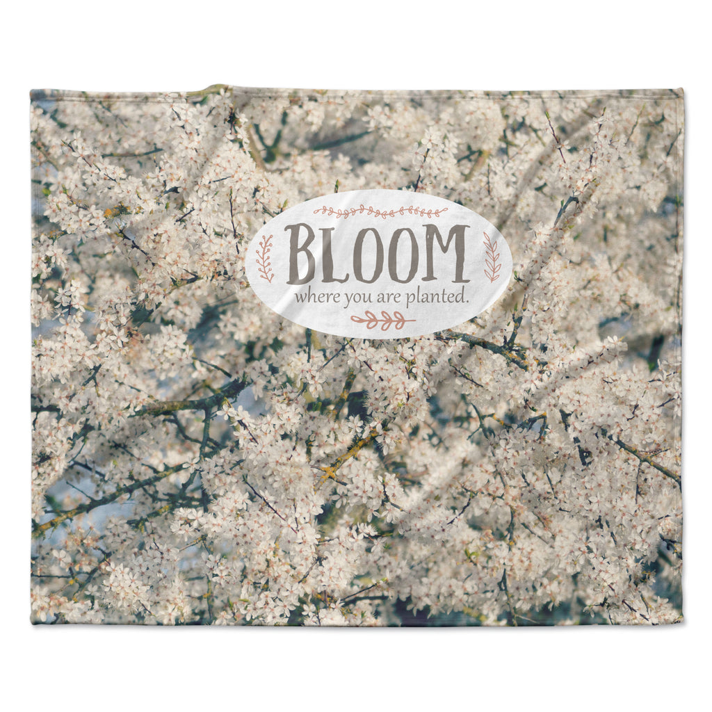 "Robin Dickinson ""Bloom Where You Are Planted"" White Floral Fleece Throw Blanket"