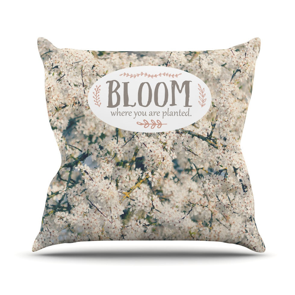"Robin Dickinson ""Bloom Where You Are Planted"" White Floral Throw Pillow - KESS InHouse  - 1"