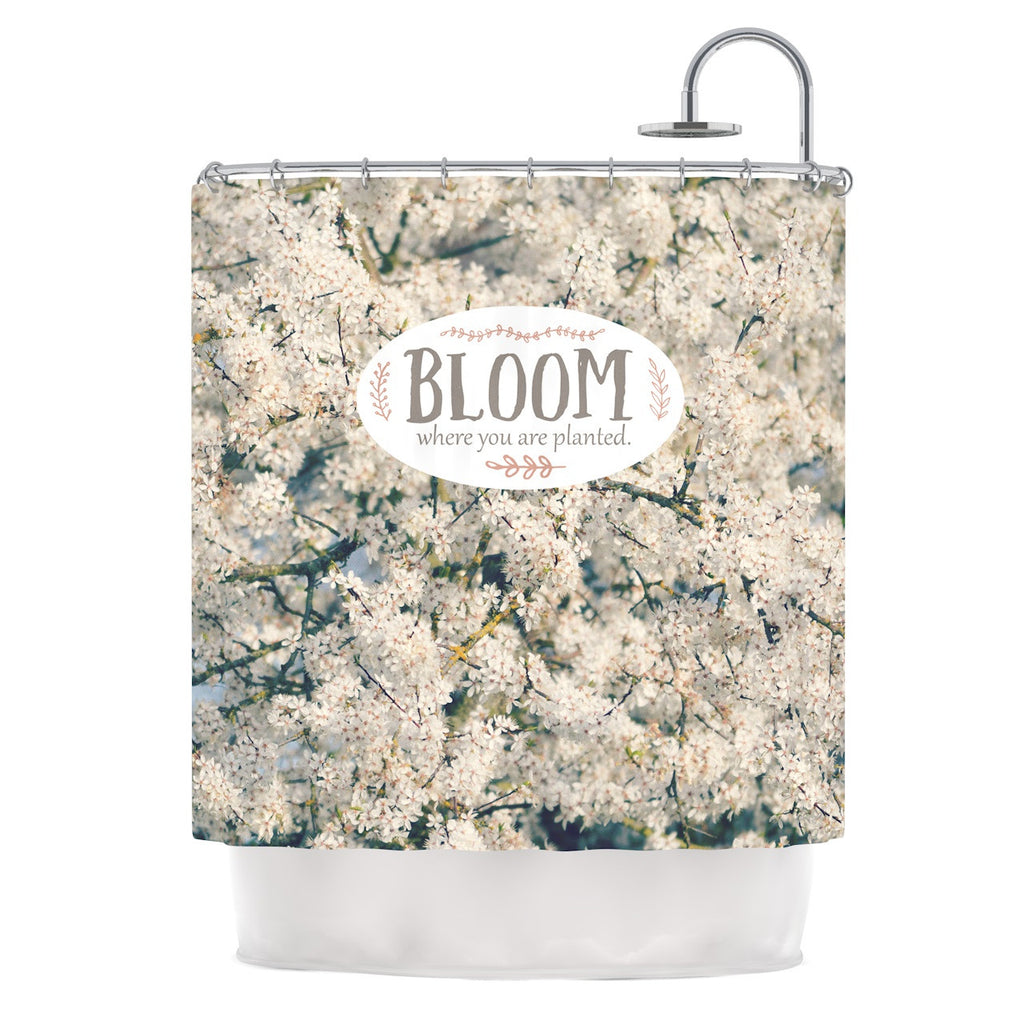 "Robin Dickinson ""Bloom Where You Are Planted"" White Floral Shower Curtain - KESS InHouse"