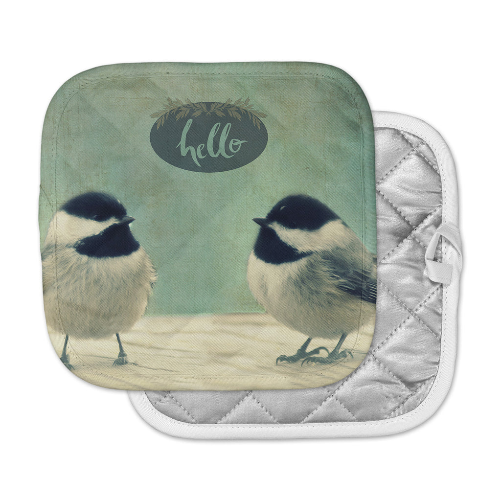 "Robin Dickinson ""Hello Birds"" Green Typography Pot Holder"