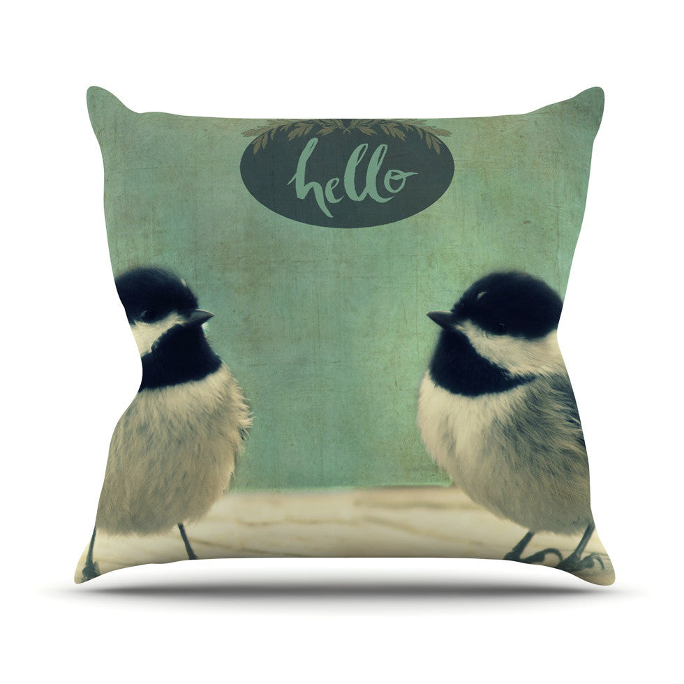 "Robin Dickinson ""Hello Birds"" Green Typography Throw Pillow - KESS InHouse  - 1"