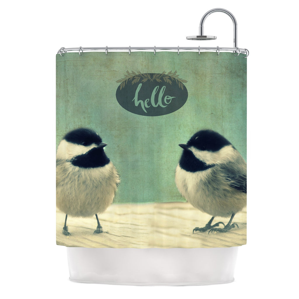 Robin Dickinson Hello Birds Green Typography Shower Curtain