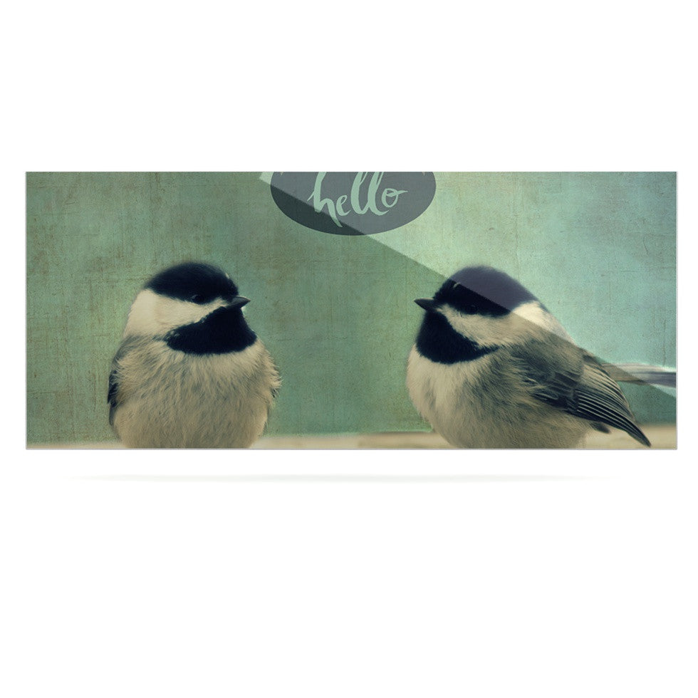 "Robin Dickinson ""Hello Birds"" Green Typography Luxe Rectangle Panel - KESS InHouse  - 1"
