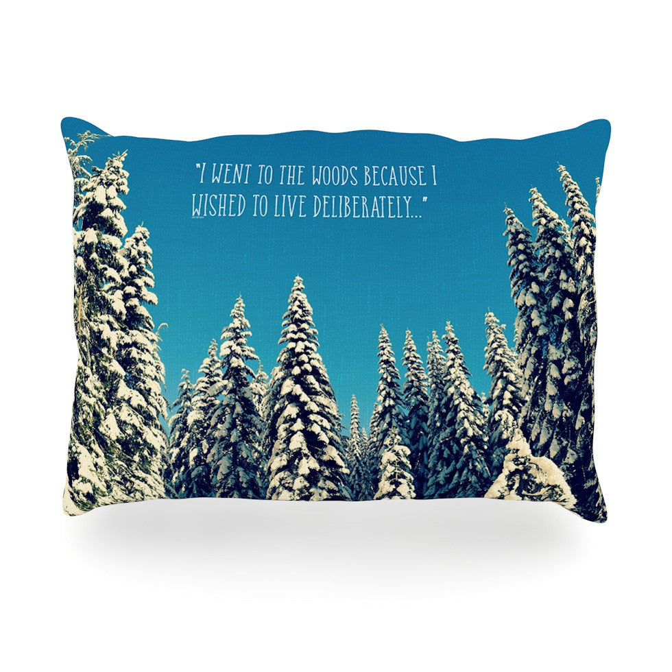 "Robin Dickinson ""I Went to the Woods"" Blue White Oblong Pillow - KESS InHouse"