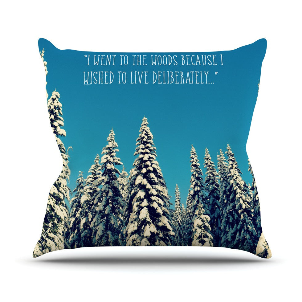 "Robin Dickinson ""I Went to the Woods"" Blue White Throw Pillow - KESS InHouse  - 1"