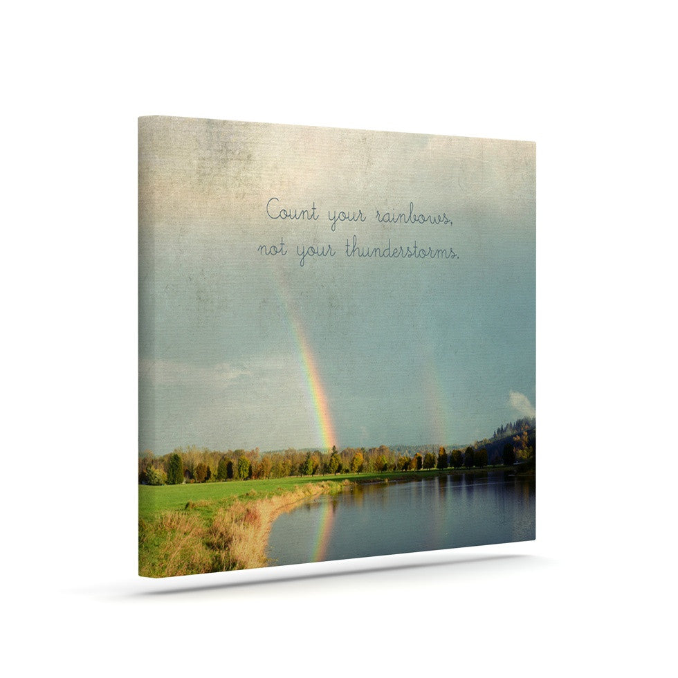 "Robin Dickinson ""Count Rainbows"" Nature Typography Canvas Art - KESS InHouse  - 1"