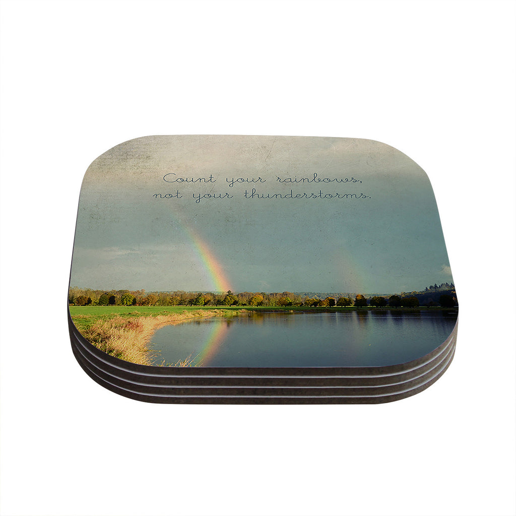 "Robin Dickinson ""Count Rainbows"" Nature Typography Coasters (Set of 4)"