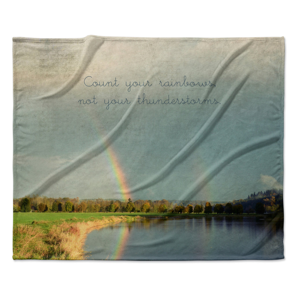 "Robin Dickinson ""Count Rainbows"" Nature Typography Fleece Throw Blanket"