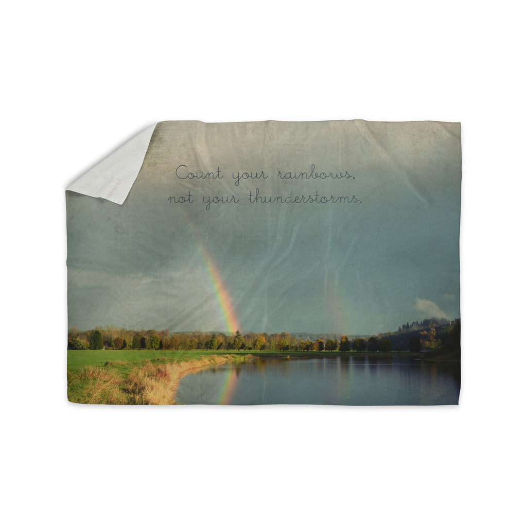 "Robin Dickinson ""Count Rainbows"" Nature Typography Sherpa Blanket - KESS InHouse  - 1"