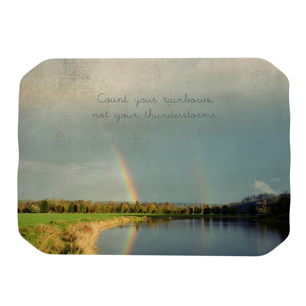 "Robin Dickinson ""Count Rainbows"" Nature Typography Place Mat - KESS InHouse"