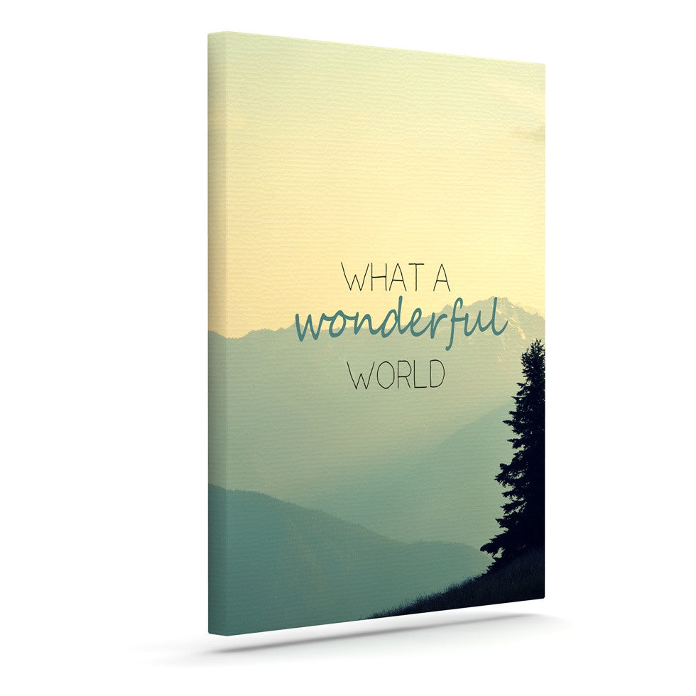 "Robin Dickinson ""What A Wonderful World"" Teal Tan Canvas Art - KESS InHouse  - 1"