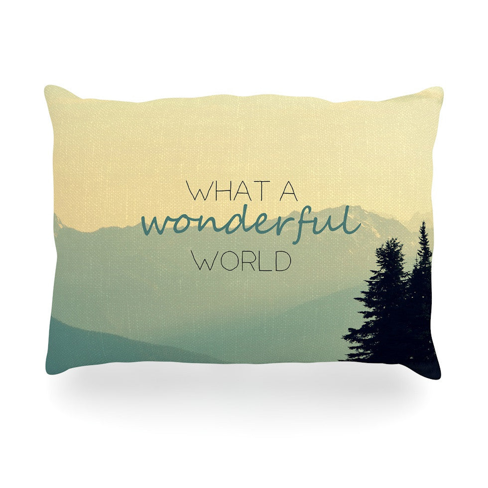 "Robin Dickinson ""What A Wonderful World"" Teal Tan Oblong Pillow - KESS InHouse"