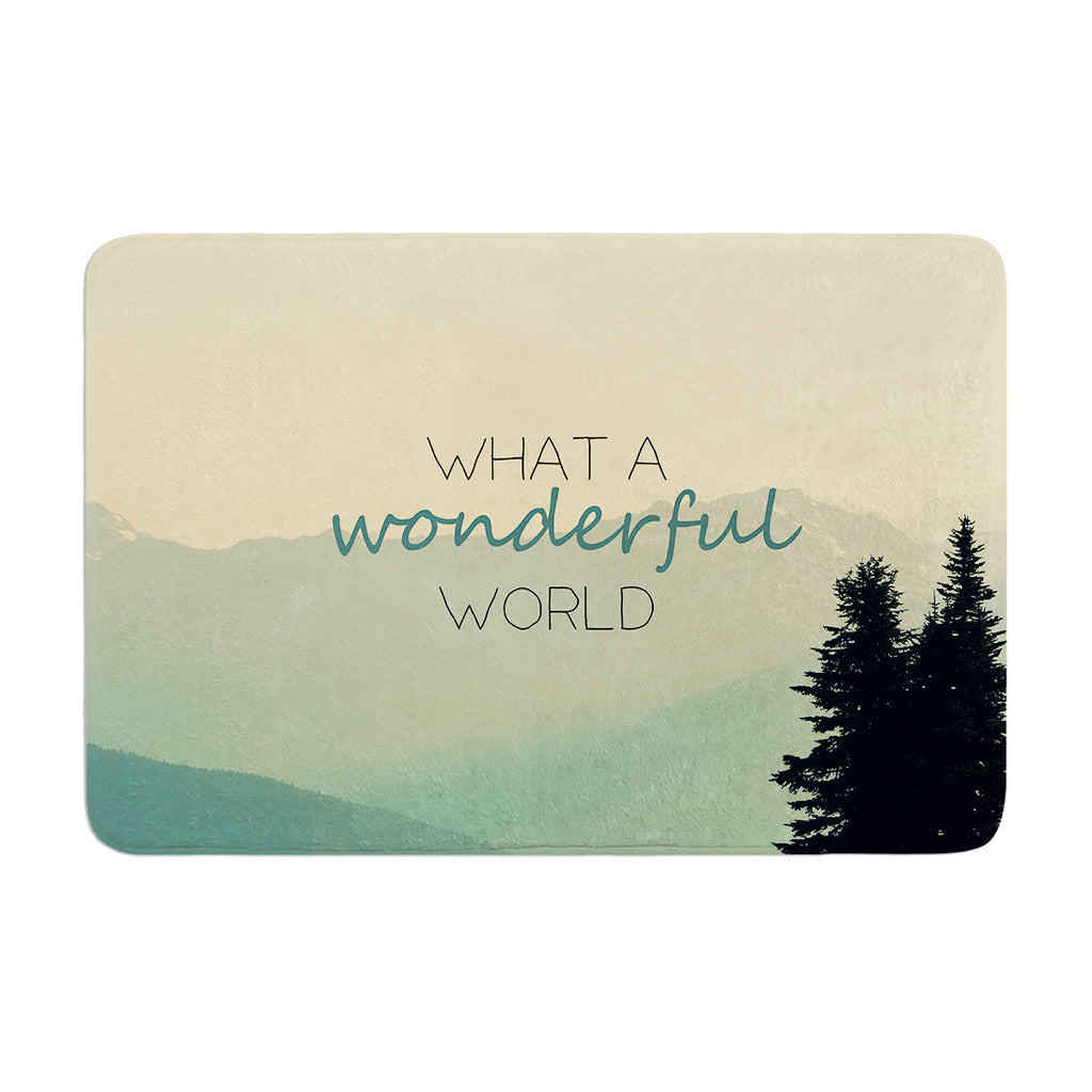 "Robin Dickinson ""What A Wonderful World"" Teal Tan Memory Foam Bath Mat - KESS InHouse"