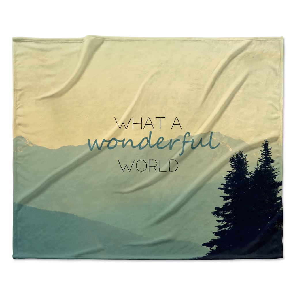 "Robin Dickinson ""What A Wonderful World"" Teal Tan Fleece Throw Blanket"