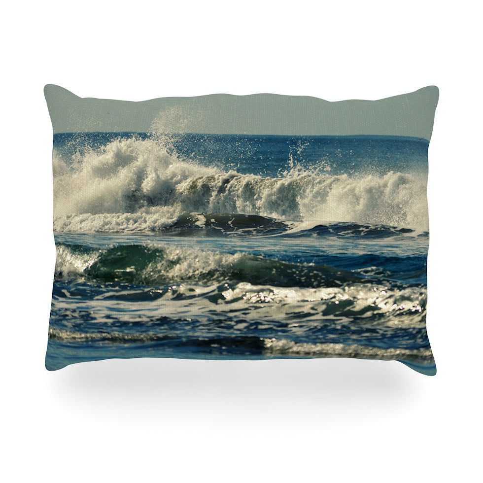 "Robin Dickinson ""Forever Young"" Blue Coastal Oblong Pillow - KESS InHouse"