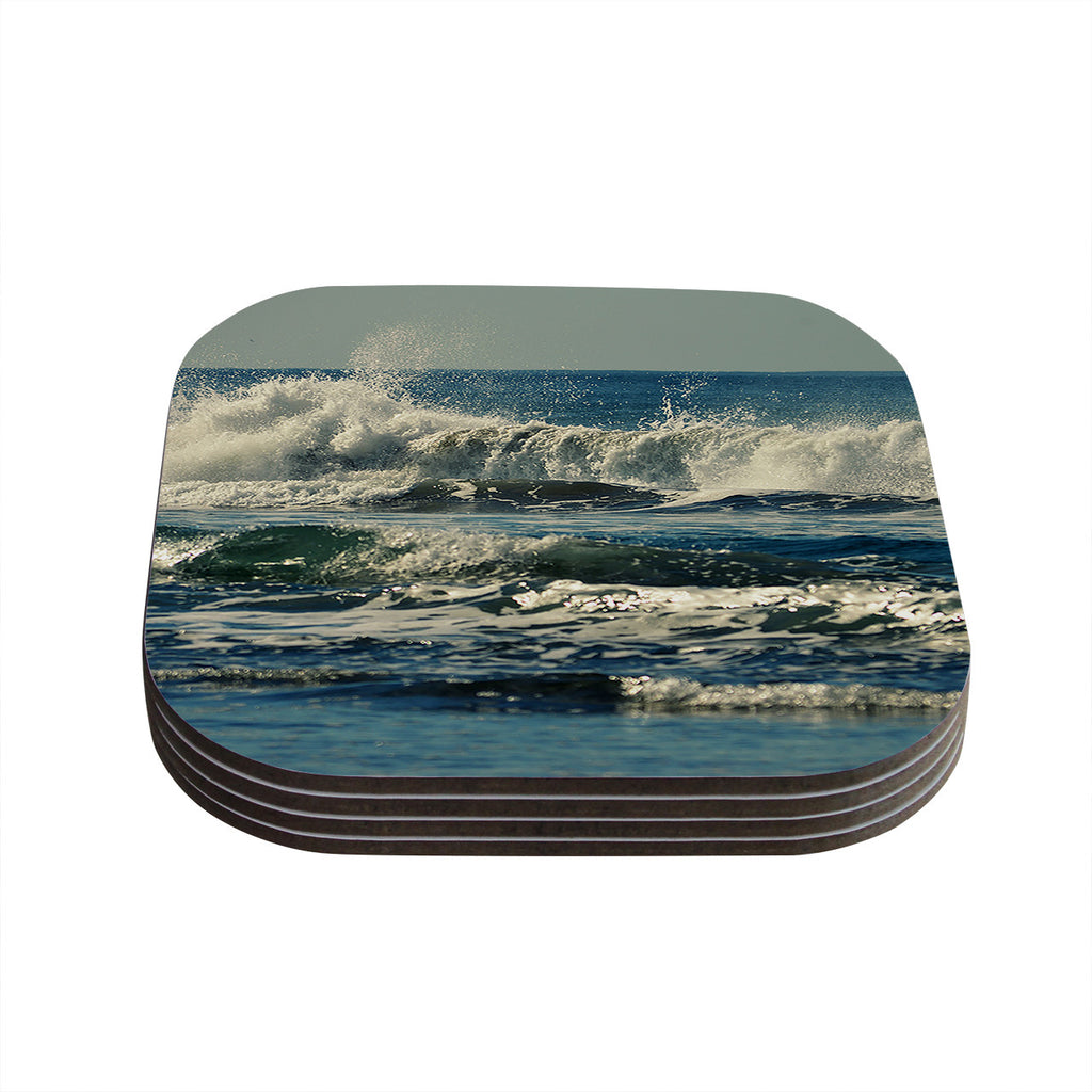 "Robin Dickinson ""Forever Young"" Blue Coastal Coasters (Set of 4)"