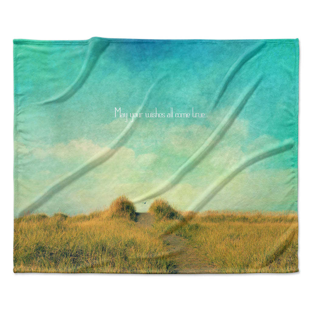 "Robin Dickinson ""May Your Wishes"" Blue Brown Fleece Throw Blanket"