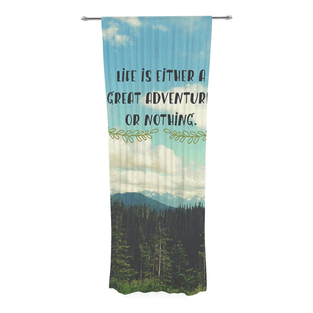 "Robin Dickinson ""Life Is..."" Landscape Typography Decorative Sheer Curtain - KESS InHouse  - 1"