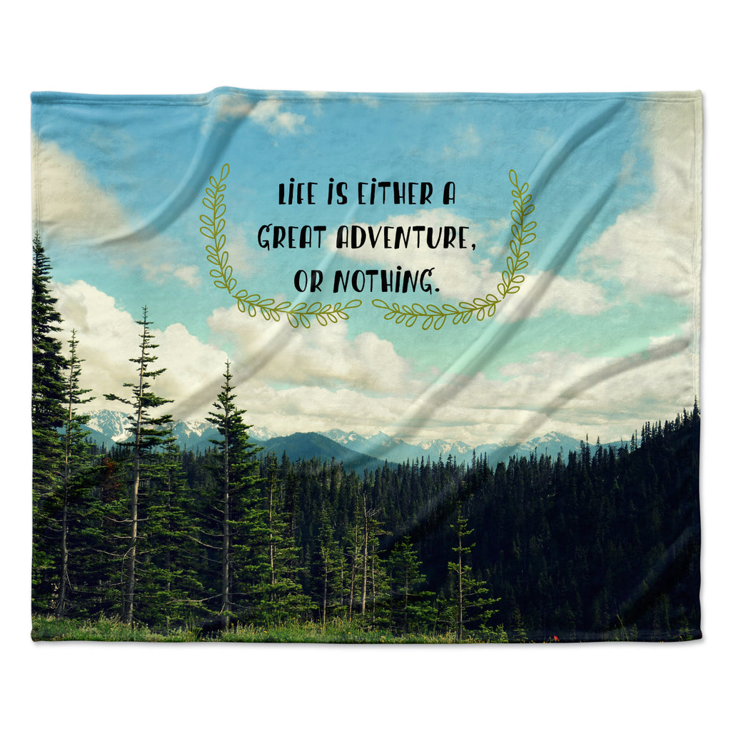 "Robin Dickinson ""Life Is..."" Landscape Typography Fleece Throw Blanket"