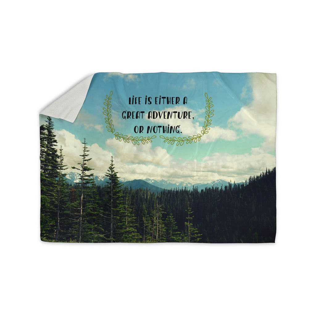 "Robin Dickinson ""Life Is..."" Landscape Typography Sherpa Blanket - KESS InHouse  - 1"