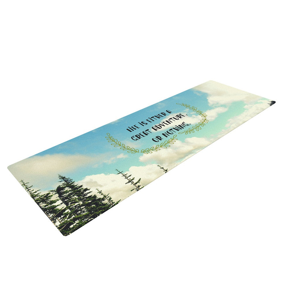 "Robin Dickinson ""Life Is..."" Landscape Typography Yoga Mat - KESS InHouse  - 1"