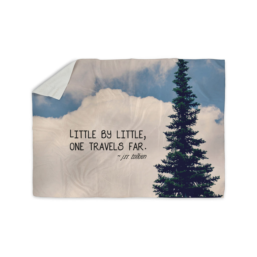 "Robin Dickinson ""Little By Little"" Clouds Typography Sherpa Blanket - KESS InHouse  - 1"