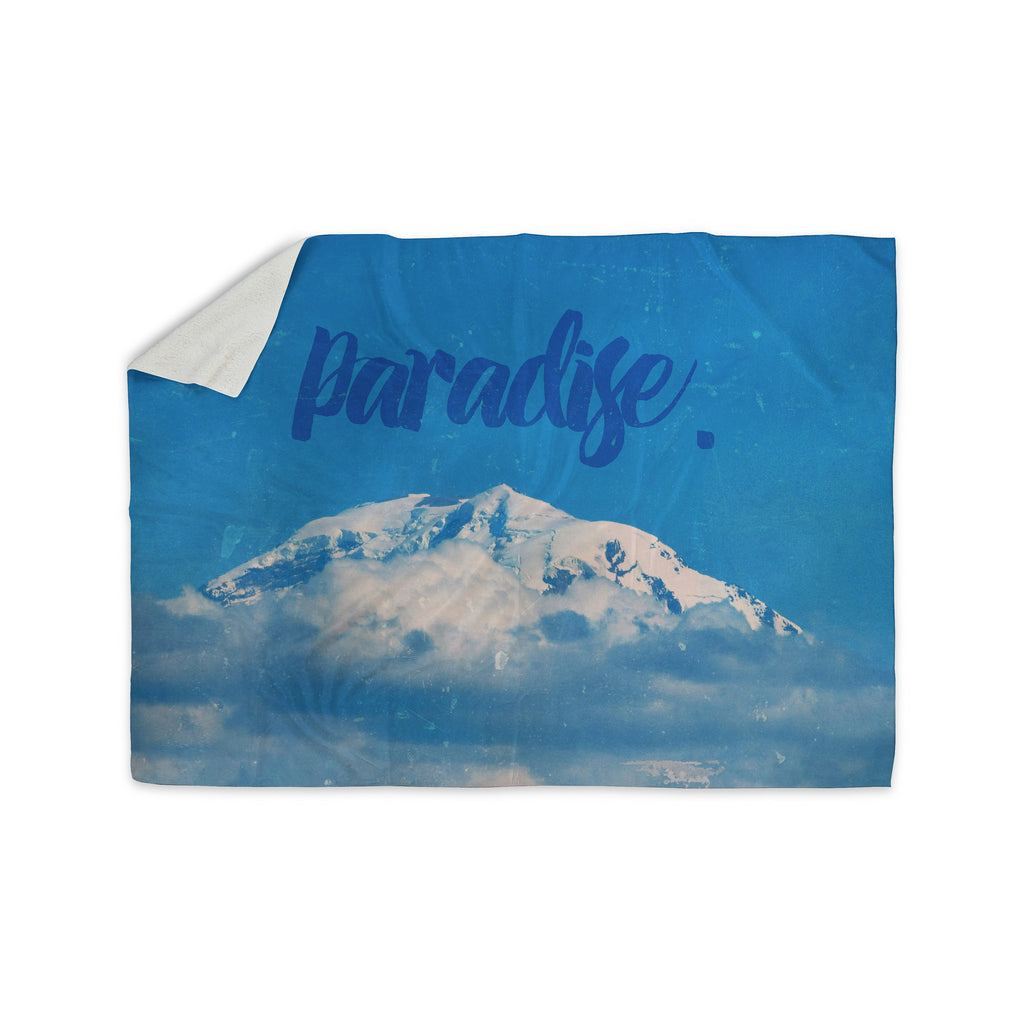 "Robin Dickenson ""Paradise."" Blue Nature Sherpa Blanket - KESS InHouse  - 1"