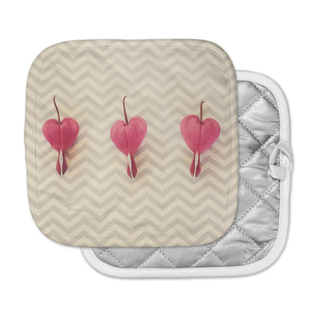 "Robin Dickinson ""Pink Heart With Chevrons"" Floral Pot Holder"