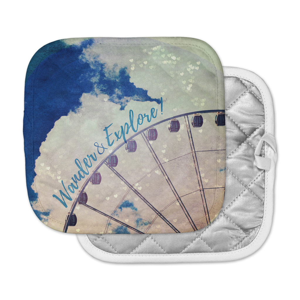 "Robin Dickinson ""Wander & Explore"" Blue White Photography Pot Holder"