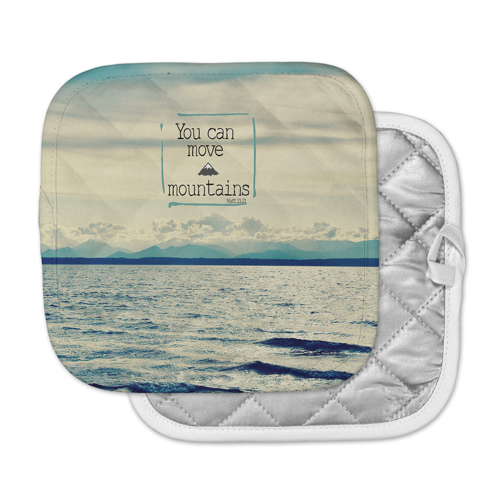 "Robin Dickinson ""You Can Move Mountains"" Blue White Photography Pot Holder"