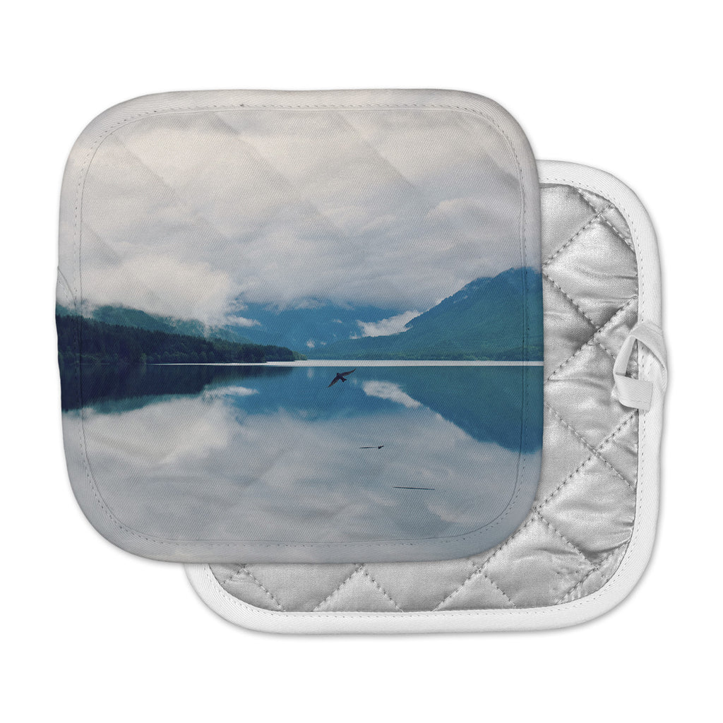 "Robin Dickinson ""Flight"" Blue White Photography Pot Holder"