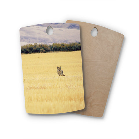 "Robin Dickinson ""Mischief"" Gold Beige Animals Nature Digital Photography Rectangle Wooden Cutting Board"