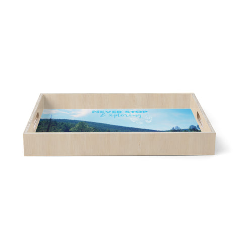 "Robin Dickinson ""Never Stop Exploring"" Blue Green Typography Nature Photography Digital Birchwood Tray"