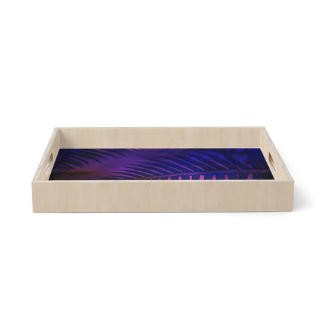 "Robin Dickinson ""Forest Fern"" Pink Purple Nature Abstract Photography Digital Birchwood Tray"