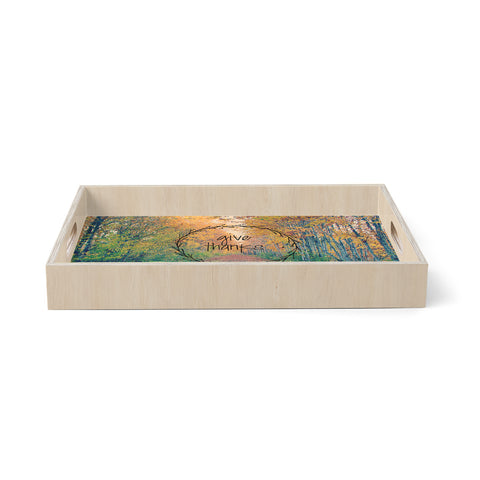 "Robin Dickinson ""Give Thanks"" Orange Green Nature Typography Photography Digital Birchwood Tray"