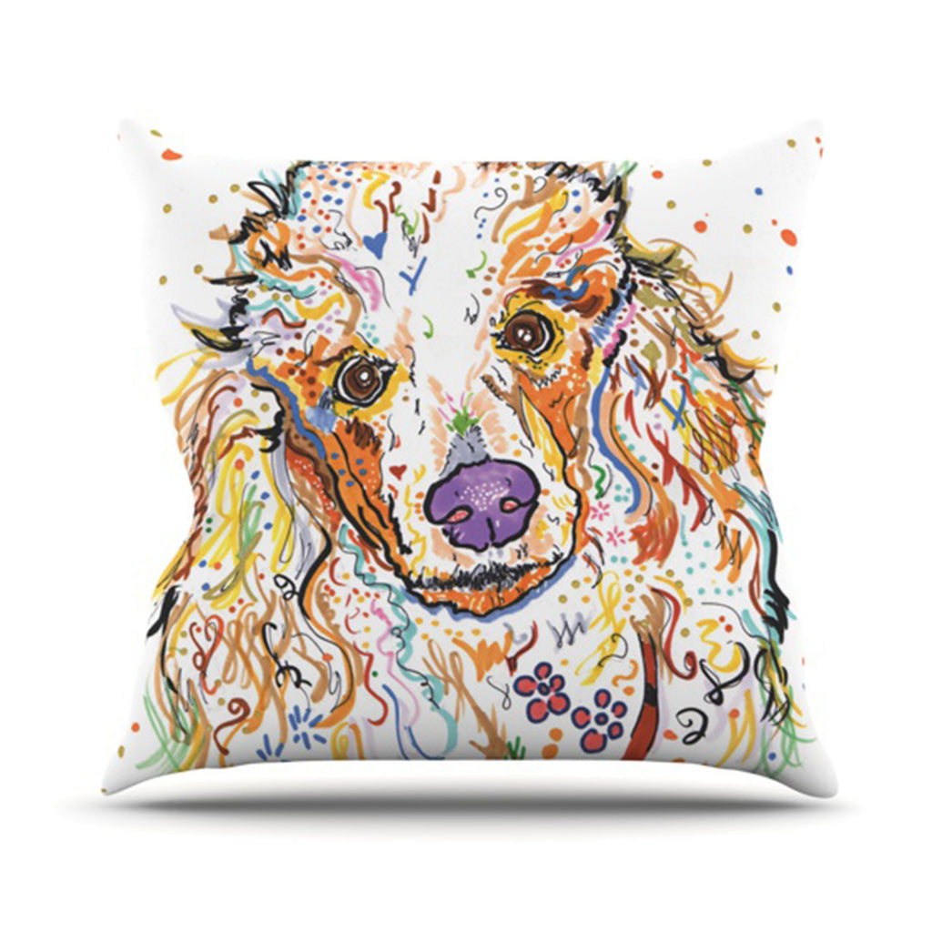 "Rebecca Fischer ""Lily"" Poodle Outdoor Throw Pillow - KESS InHouse  - 1"