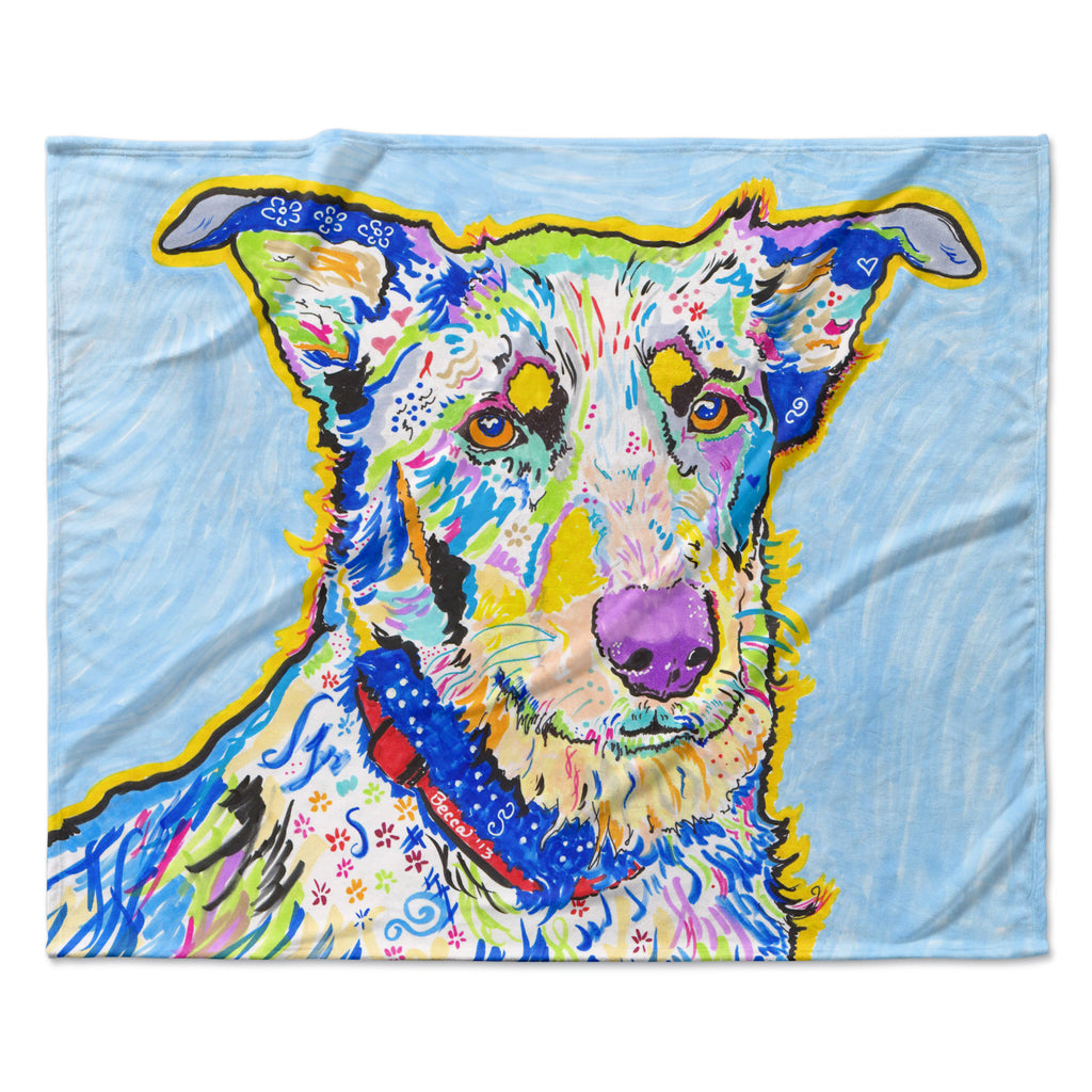 "Rebecca Fischer ""Becca"" Blue Rainbow Fleece Throw Blanket"