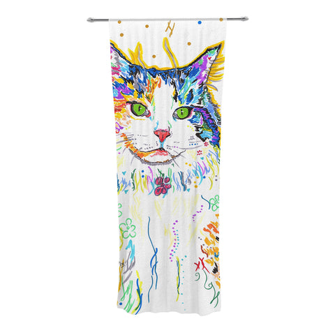"Rebecca Fischer ""Royal"" Rainbow Cat Decorative Sheer Curtains - KESS InHouse"