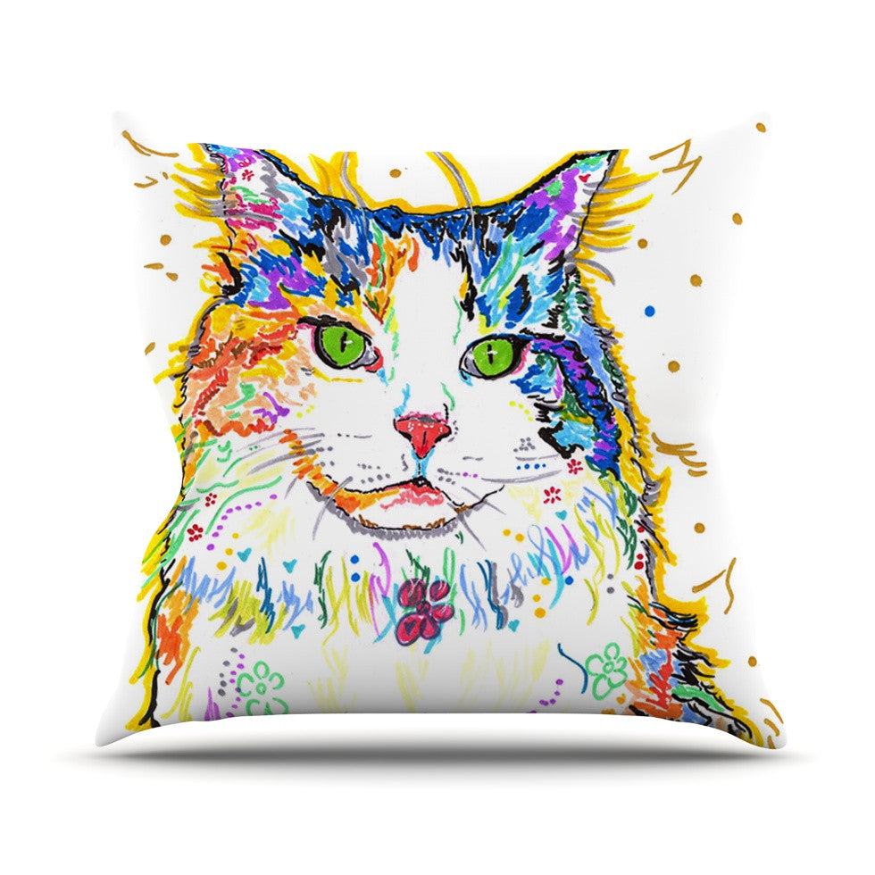 "Rebecca Fischer ""Royal"" Rainbow Cat Outdoor Throw Pillow - KESS InHouse  - 1"