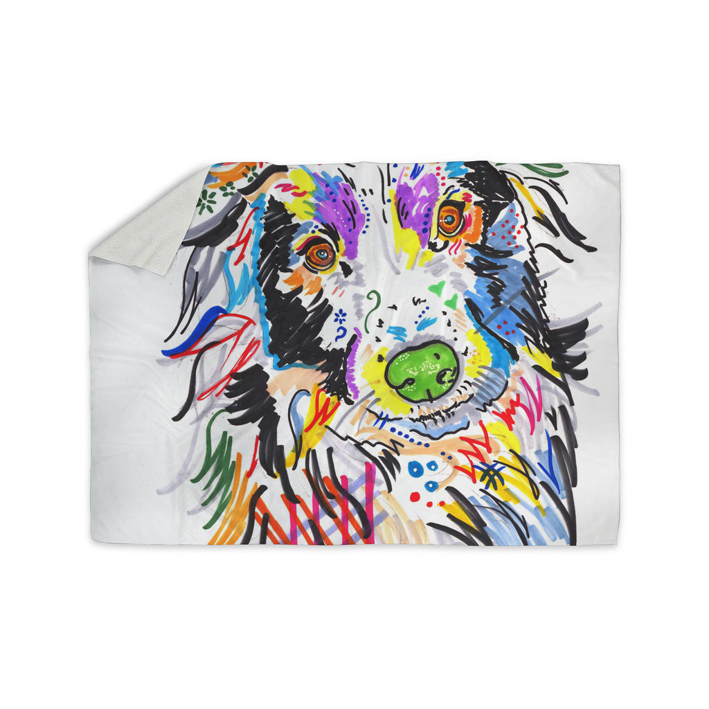 "Rebecca Fisher ""Buzz"" Multicolor Dog Sherpa Blanket - KESS InHouse  - 1"