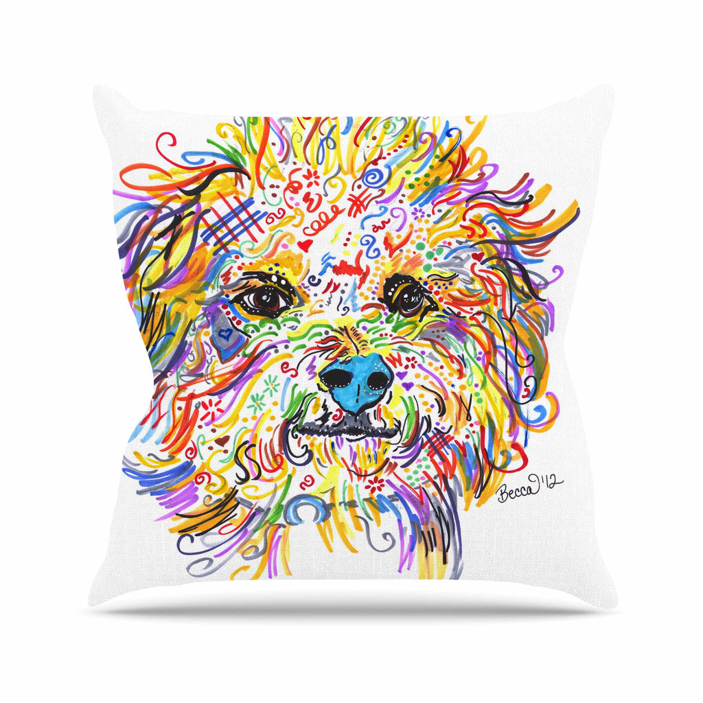 "Rebecca Fischer ""Beepster"" Beige Blue Mixed Media Animals Throw Pillow"