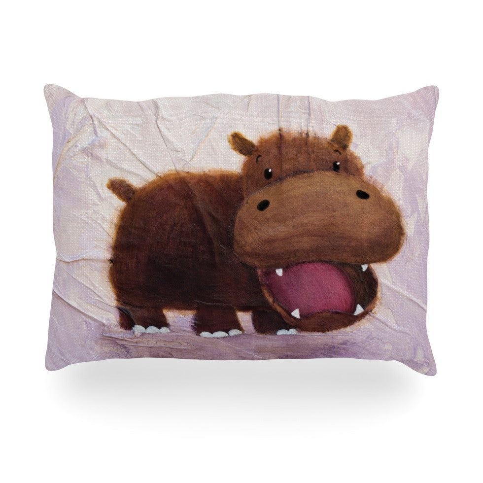 "Rachel Kokko ""The Happy Hippo"" Oblong Pillow - KESS InHouse"
